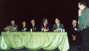 Первое заседание конгресса «Риносинусит: возбудители и патогенез». Слева направо: В.Козлов, Ю.Куроно (Япония), П. Ван Каувенберг (Бельгия), Д.Кеннеди (США), А.Лопатин, Г.Пискунов, П.Стирна (Швеция)